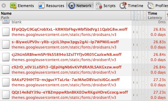 Google字体库引起的首页加载缓慢问题