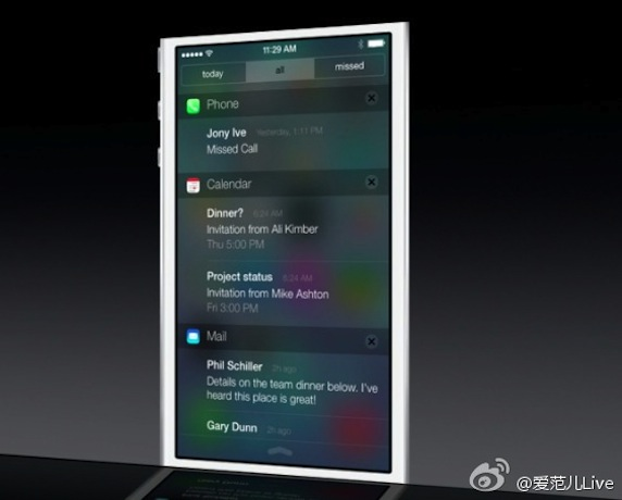 WWDC 2013 iOS 7 通知中心