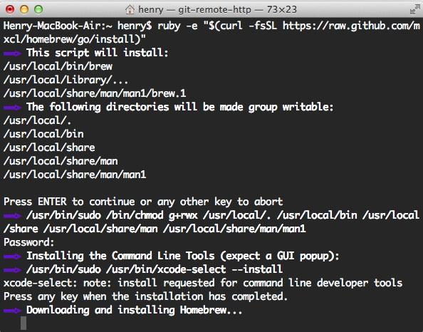 Homebrew OS X 软件包管理器
